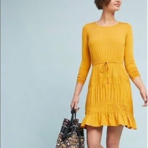 Anthropologie Tiered-Ruffled Dress - Gold (M)